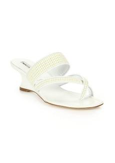 Manolo Blahnik Susa Raffia Cross-Toe Wedge Sandals