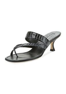 Manolo Blahnik Susa Snakeskin 50mm Slide Sandal