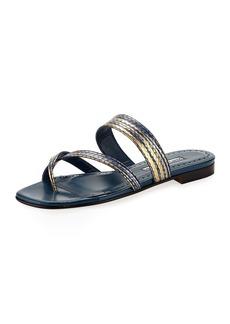 Manolo Blahnik Susa Snakeskin Flat Slide Sandal