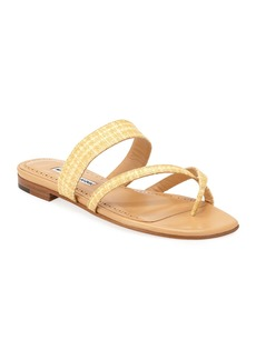 Manolo Blahnik Susa Woven Rafia Sandals