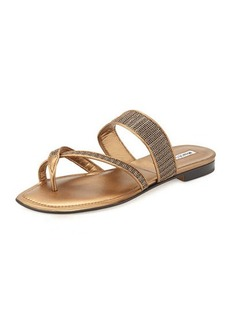Manolo Blahnik Susametal Woven Thong Sandal