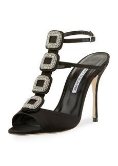 Manolo Blahnik Suwny Satin Crystal Buckle Sandal