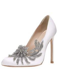 Manolo Blahnik Swan Embellished Satin Pump