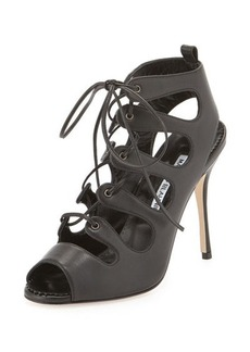 Manolo Blahnik Taala Leather Lace-Up Sandal