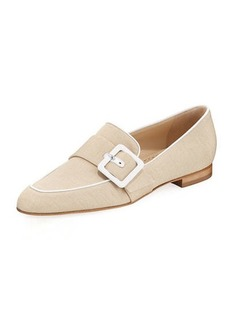 Manolo Blahnik Teno Flat Loafer with Buckle Strap