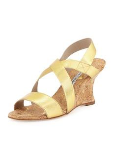Manolo Blahnik Terwe Elastic Metallic Cork Wedge Sandal