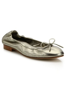 Manolo Blahnik Tobaly Metallic Leather Ballet Flats