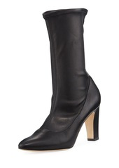 Manolo Blahnik Todi Fitted Leather Ankle Boot