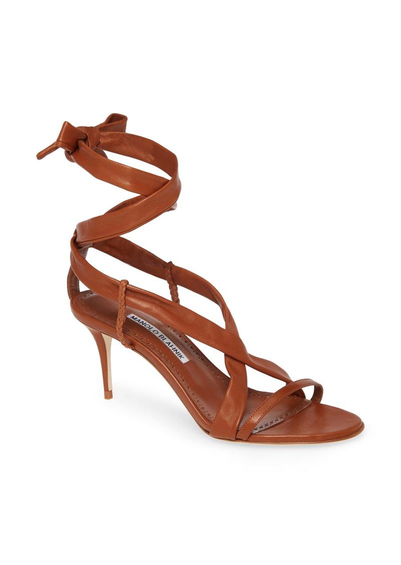 Manolo Blahnik Tor Ankle Wrap Sandal (Women)