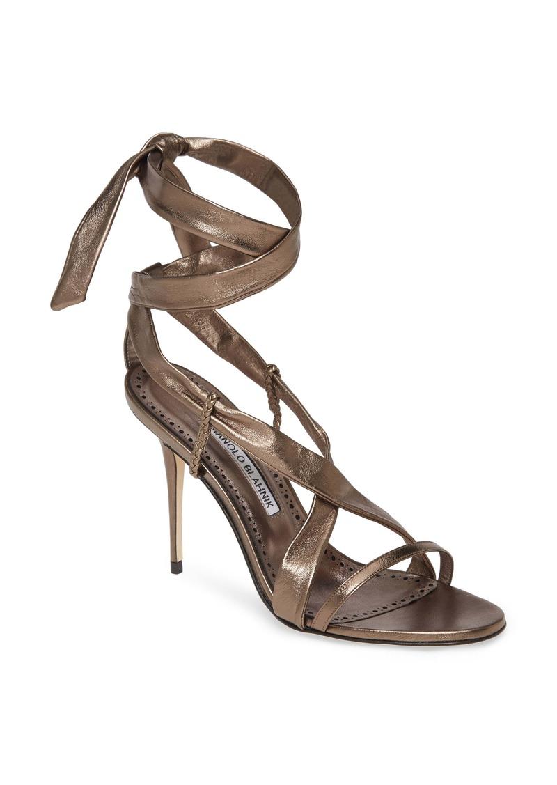 Manolo Blahnik Tor Metallic Ankle Wrap Sandal (Women)