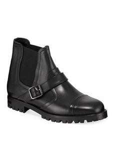 Manolo Blahnik Traba Leather Lug Sole Bootie