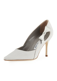 Manolo Blahnik Tracee Satin Bow Pump