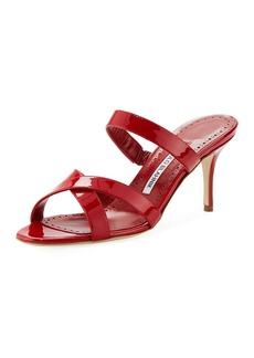 Manolo Blahnik Traer 70mm Patent Slide Sandals
