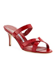 Manolo Blahnik Traer 70mm Patent Slide Sandals