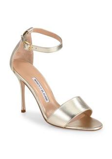 Manolo Blahnik Tressa 105 Metallic Leather Ankle-Strap Sandals