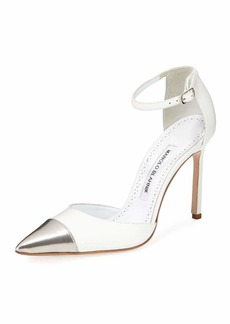Manolo Blahnik Trova Cap-Toe Leather 105mm Ankle-Wrap Pump