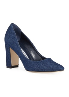 Manolo Blahnik Tucciototo 90mm Denim Fabric Pumps
