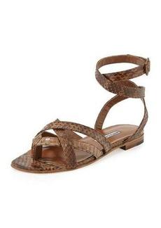 Manolo Blahnik Turla Snakeskin Ankle-Wrap Sandal