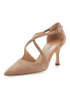 Manolo Blahnik Umice Suede Crisscross 70mm Pump