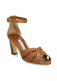 Manolo Blahnik Unista Leather Ankle-Strap Sandals