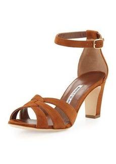 Manolo Blahnik Unista Strappy Suede 70mm Sandal