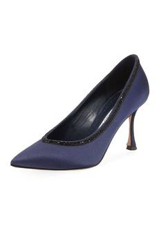 Manolo Blahnik Urgenzacri Crystal-Trim Satin Pump