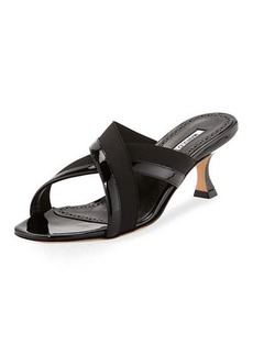 Manolo Blahnik Urto Patent Crisscross Slide Sandal