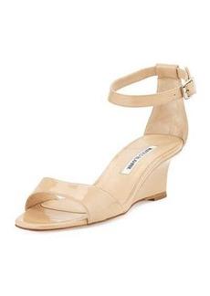 Manolo Blahnik Valta Patent Wedge Sandal