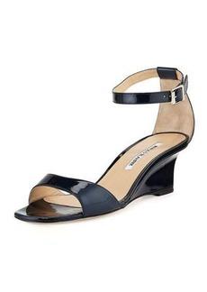 Manolo Blahnik Valtassa Patent Demi-Wedge Sandal