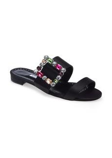 Manolo Blahnik Verda Crystal Buckle Slide Sandal (Women)