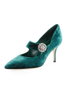 Manolo Blahnik Verna Velvet Crystal-Buckle Mary Jane Pump