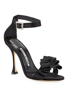 Manolo Blahnik Vinka Chaos 105mm Ruched Ribbon Sandals