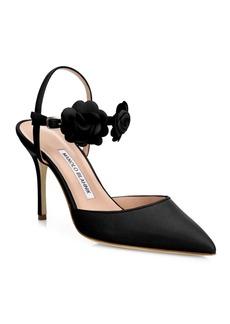 Manolo Blahnik Volvonapla Flower Leather Ankle-Strap Pumps