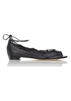 Manolo Blahnik Women's Aneska Lace-Up Flats-BLACK Size 6