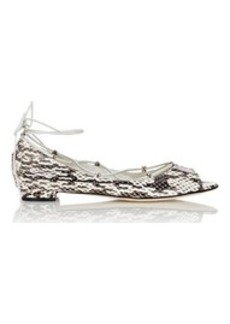 Manolo Blahnik Women's Aneska Lace-Up Flats-Black, White, Beige Size 5