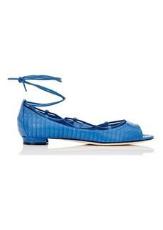 Manolo Blahnik Women's Aneska Lace-Up Flats-BLUE Size 8
