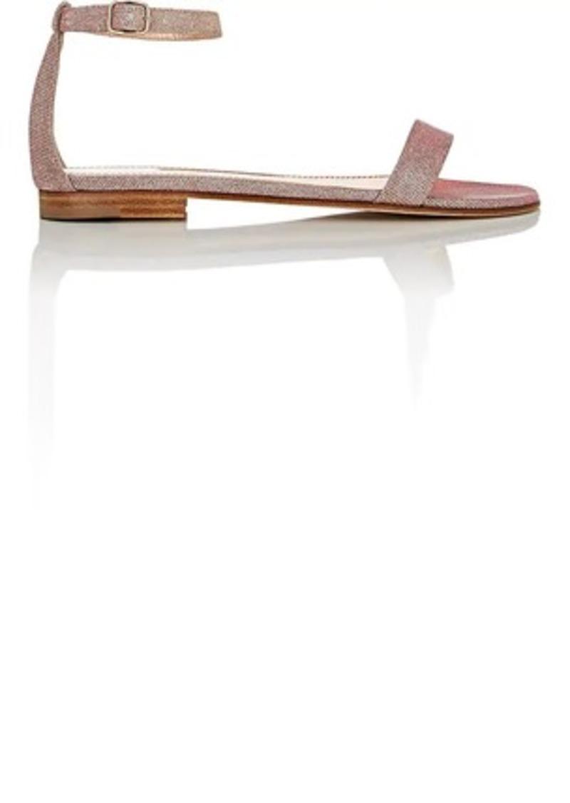 Manolo Blahnik Women's Chafla Textured-Weave Ankle-Strap Sandals