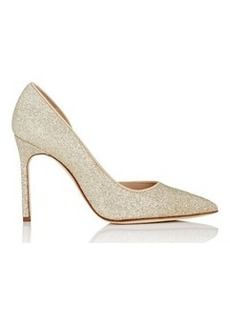 Manolo Blahnik Women's Collina Half D'Orsay Pumps-GOLD Size 10.5