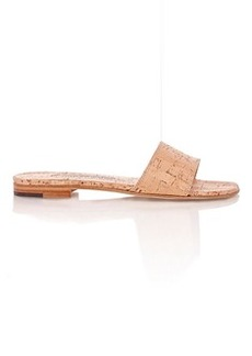 Manolo Blahnik Women's Cork Falcoplain Slides-GOLD Size 6