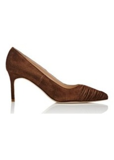Manolo Blahnik Women's Plizate Suede Pumps-Dark Brown Size 7.5