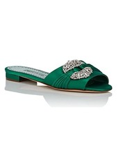 Manolo Blahnik Women's Pralina Satin Slide Sandals