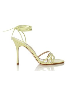 Manolo Blahnik Women's Snakeskin Leva Ankle-Wrap Sandals-GREEN Size 9.5