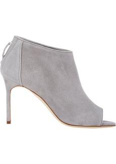 Manolo Blahnik Women's Suede Truffas Ankle Boots-GREY Size 10.5