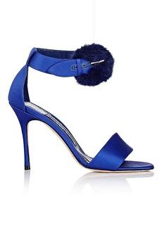 Manolo Blahnik Women's Trespola Satin & Fur Sandals