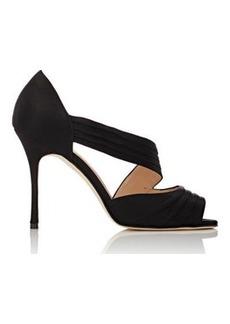 Manolo Blahnik Women's Treuil Asymmetric-Strap Sandals-Black Size 8.5