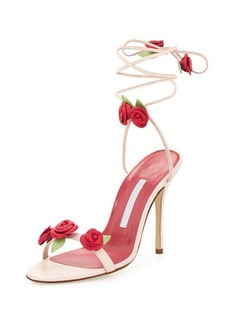 Manolo Blahnik Xiafore Rose Ankle-Wrap Sandal
