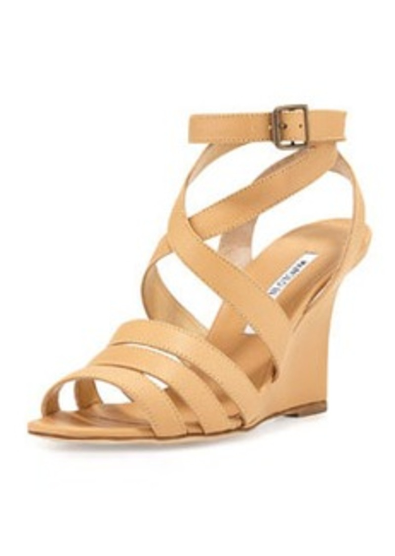 Manolo Blahnik Zoccolito Strappy Wedge Sandal, Dune