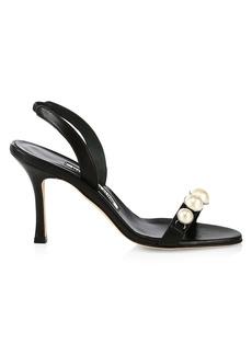 Manolo Blahnik Minchisli Faux Pearl-Embellished Leather Slingback Sandals