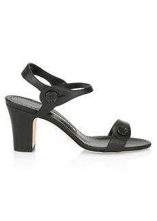 Manolo Blahnik Mulia Button Leather Sandals