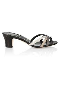 Manolo Blahnik Multicolor Snakeskin Heeled Slide Sandals